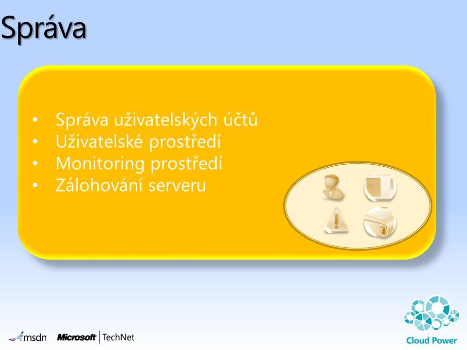 • Správa uživatelských účtů • Uživatelské prostředí • Monitoring prostředí • Zálohování serveru • Správa uživatelských účtů • Uživatelské prostředí •