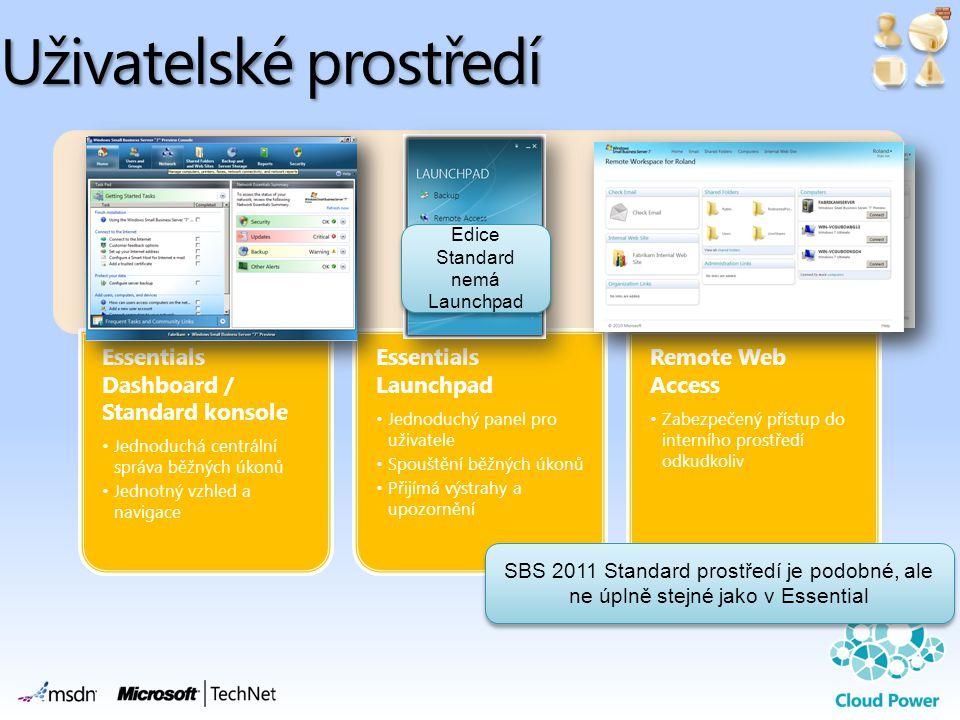Uživatelské prostředí Essentials Dashboard / Standard konsole •Jednoduchá centrální správa běžných úkonů •Jednotný vzhled a navigace Essentials Launchpad •Jednoduchý panel pro uživatele •Spouštění běžných úkonů •Přijímá výstrahy a upozornění Remote Web Access •Zabezpečený přístup do interního prostředí odkudkoliv Edice Standard nemá Launchpad SBS 2011 Standard prostředí je podobné, ale ne úplně stejné jako v Essential