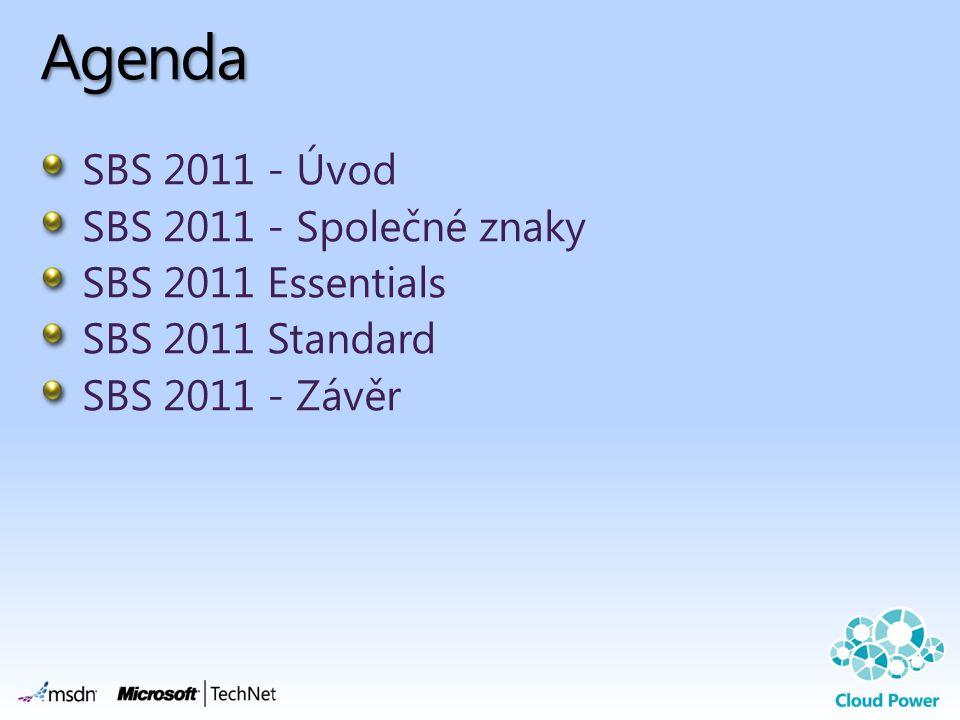 Agenda SBS 2011 - Úvod SBS 2011 - Společné znaky SBS 2011 Essentials SBS 2011 Standard SBS 2011 - Závěr