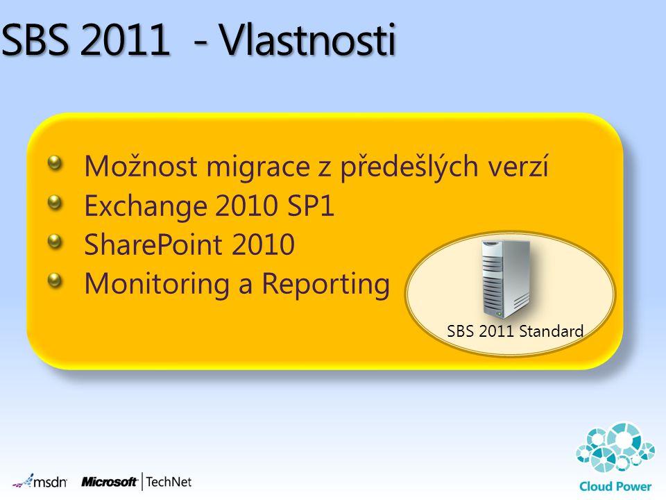 Možnost migrace z předešlých verzí Exchange 2010 SP1 SharePoint 2010 Monitoring a Reporting Možnost migrace z předešlých verzí Exchange 2010 SP1 SharePoint 2010 Monitoring a Reporting SBS 2011 - Vlastnosti SBS 2011 Standard