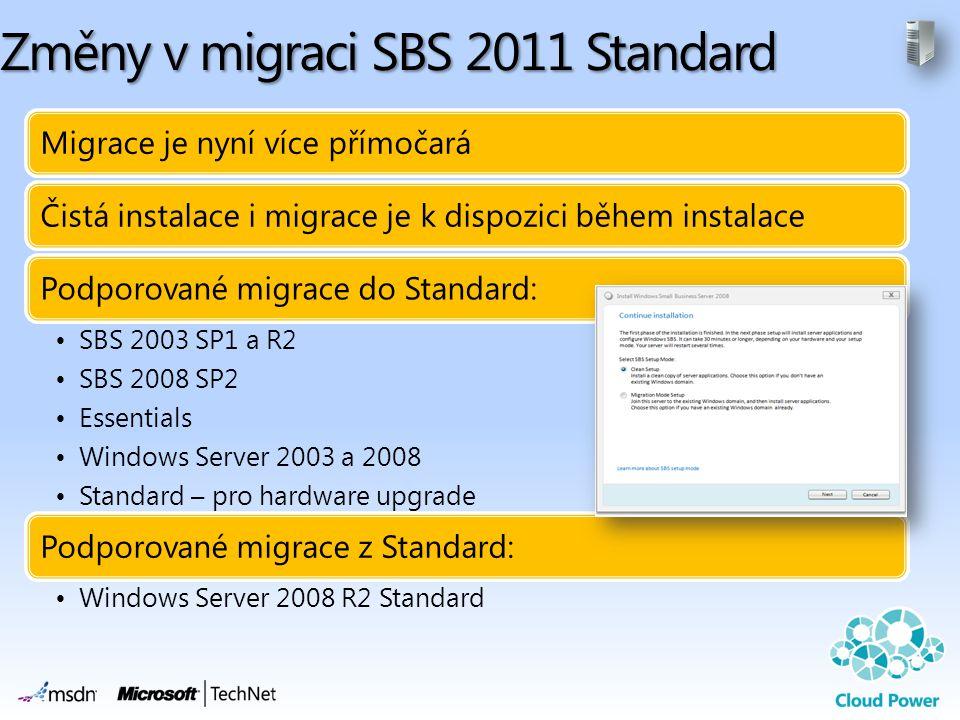 Změny v migraci SBS 2011 Standard Migrace je nyní více přímočaráČistá instalace i migrace je k dispozici během instalacePodporované migrace do Standar