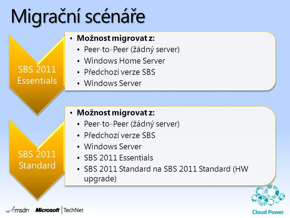 Migrační scénáře SBS 2011 Essentials •Možnost migrovat z: •Peer-to-Peer (žádný server) •Windows Home Server •Předchozí verze SBS •Windows Server SBS 2011 Standard •Možnost migrovat z: •Peer-to-Peer (žádný server) •Předchozí verze SBS •Windows Server •SBS 2011 Essentials •SBS 2011 Standard na SBS 2011 Standard (HW upgrade)