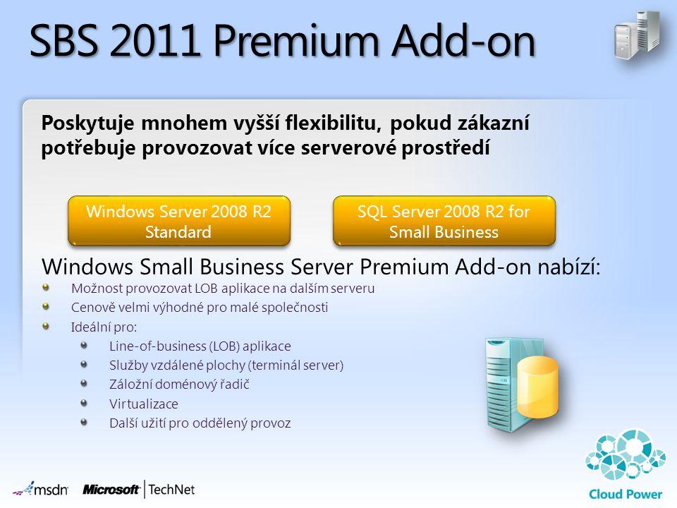 Poskytuje mnohem vyšší flexibilitu, pokud zákazní potřebuje provozovat více serverové prostředí SBS 2011 Premium Add-on Windows Small Business Server Premium Add-on nabízí: SQL Server 2008 R2 for Small Business Windows Server 2008 R2 Standard Možnost provozovat LOB aplikace na dalším serveru Cenově velmi výhodné pro malé společnosti Ideální pro: Line-of-business (LOB) aplikace Služby vzdálené plochy (terminál server) Záložní doménový řadič Virtualizace Další užití pro oddělený provoz