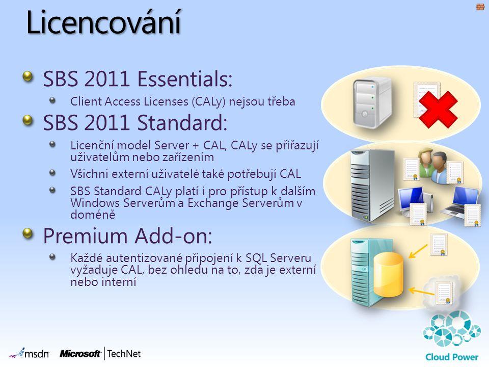 Licencování SBS 2011 Essentials: Client Access Licenses (CALy) nejsou třeba SBS 2011 Standard: Licenční model Server + CAL, CALy se přiřazují uživatelům nebo zařízením Všichni externí uživatelé také potřebují CAL SBS Standard CALy platí i pro přístup k dalším Windows Serverům a Exchange Serverům v doméně Premium Add-on: Každé autentizované připojení k SQL Serveru vyžaduje CAL, bez ohledu na to, zda je externí nebo interní