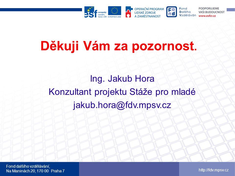 Fond dalšího vzdělávání, Na Maninách 20, 170 00 Praha 7 http://fdv.mpsv.cz Děkuji Vám za pozornost.