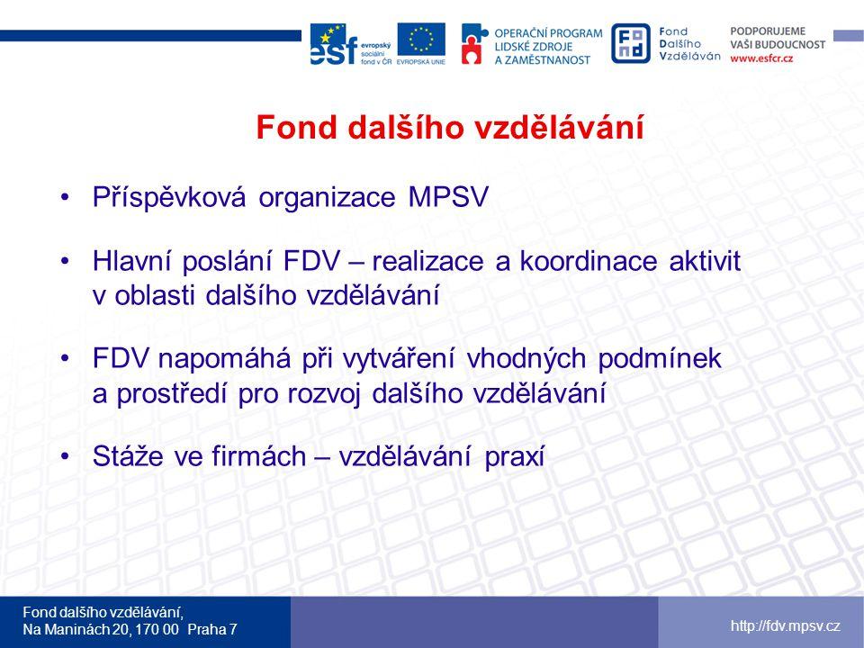 Fond dalšího vzdělávání, Na Maninách 20, 170 00 Praha 7 http://fdv.mpsv.cz Fond dalšího vzdělávání •Příspěvková organizace MPSV •Hlavní poslání FDV –
