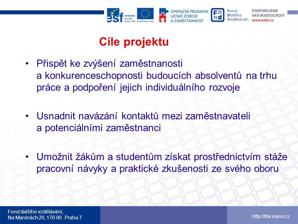 Fond dalšího vzdělávání, Na Maninách 20, 170 00 Praha 7 http://fdv.mpsv.cz Cíle projektu •Přispět ke zvýšení zaměstnanosti a konkurenceschopnosti budo