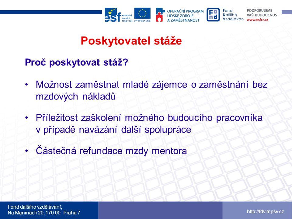 Fond dalšího vzdělávání, Na Maninách 20, 170 00 Praha 7 http://fdv.mpsv.cz Poskytovatel stáže Proč poskytovat stáž.