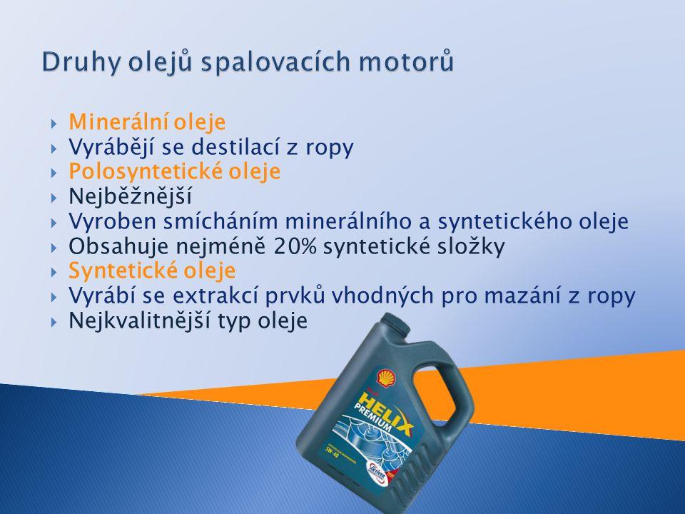  Minerální oleje  Vyrábějí se destilací z ropy  Polosyntetické oleje  Nejběžnější  Vyroben smícháním minerálního a syntetického oleje  Obsahuje