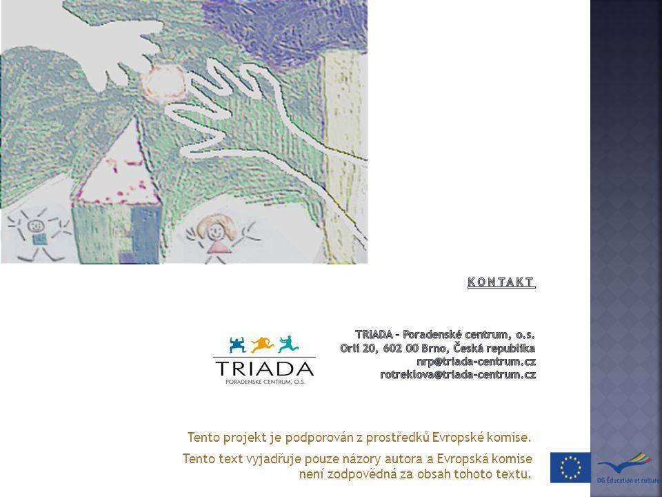Tento projekt je podporován z prostředků Evropské komise. Tento text vyjadřuje pouze názory autora a Evropská komise není zodpovědná za obsah tohoto t