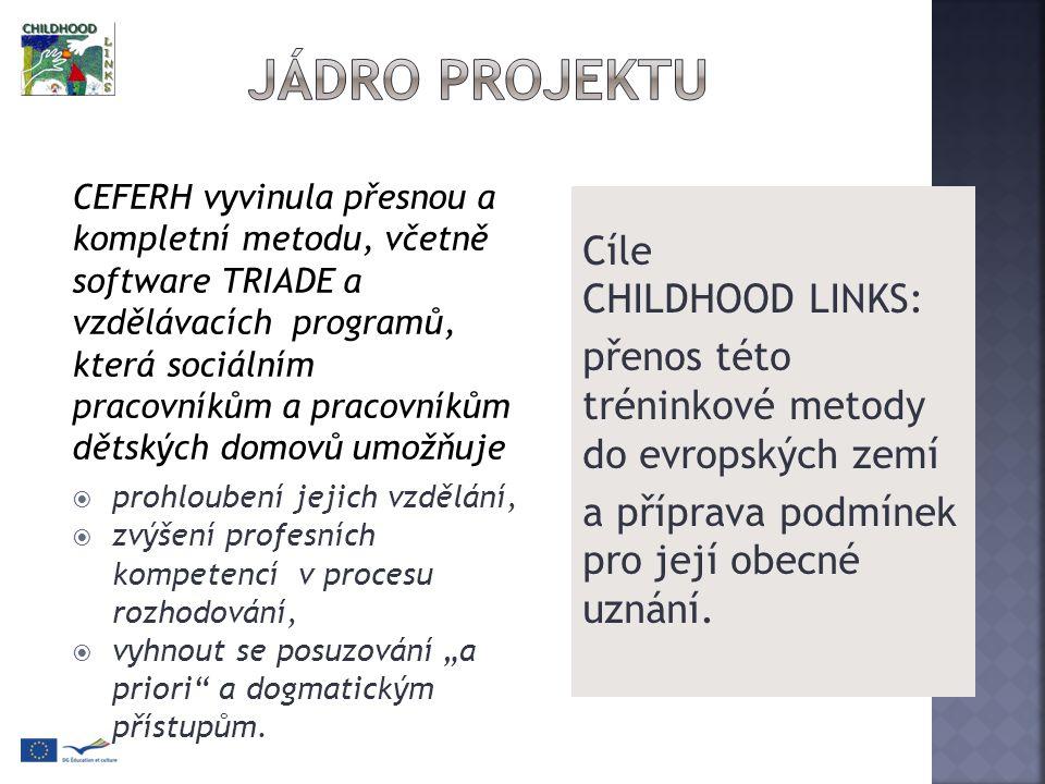 Cíle CHILDHOOD LINKS: přenos této tréninkové metody do evropských zemí a příprava podmínek pro její obecné uznání.