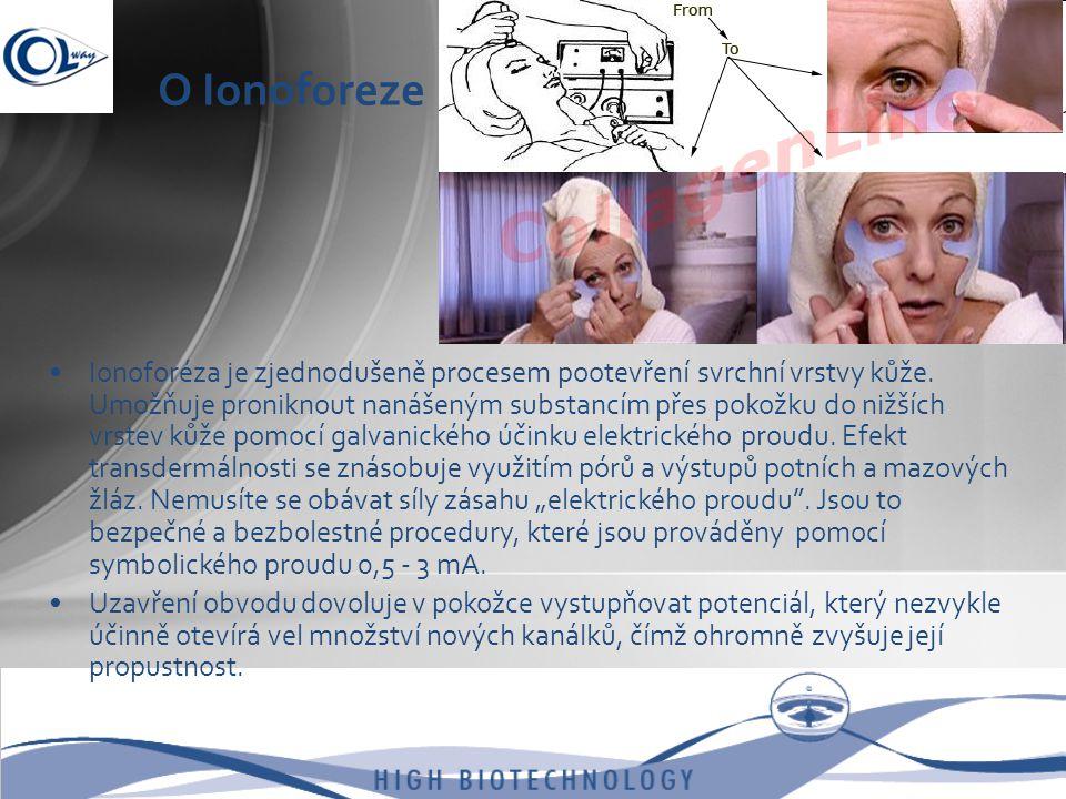 O Ionoforeze •Ionoforéza je zjednodušeně procesem pootevření svrchní vrstvy kůže. Umožňuje proniknout nanášeným substancím přes pokožku do nižších vrs