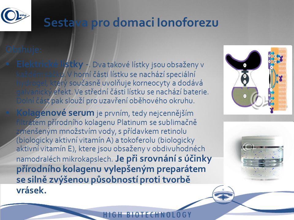 Sestava pro domaci Ionoforezu Obshuje: •Elektrické lístky -. Dva takové lístky jsou obsaženy v každém sáčku. V horní části lístku se nachází speciální