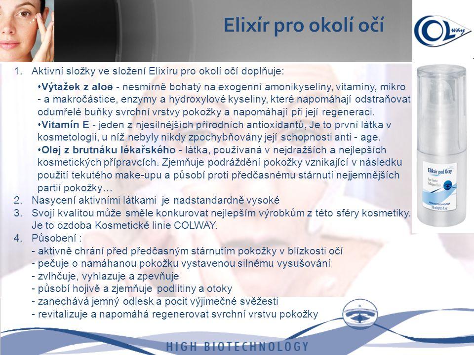 1.Aktivní složky ve složení Elixíru pro okolí očí doplňuje: •Výtažek z aloe - nesmírně bohatý na exogenní amonikyseliny, vitamíny, mikro - a makročást