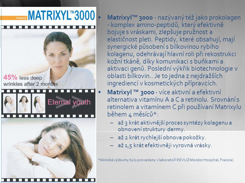 •Matrixyl™ 3000 - nazývaný též jako prokolagen - komplex amino-peptidů, který efektivně bojuje s vráskami, zlepšuje pružnost a elastičnost pleti. Pept