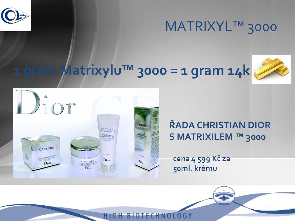 MATRIXYL™ 3000 1 gram Matrixylu™ 3000 = 1 gram 14k ŘADA CHRISTIAN DIOR S MATRIXILEM ™ 3000 cena 4 599 Kč za 50ml. krému