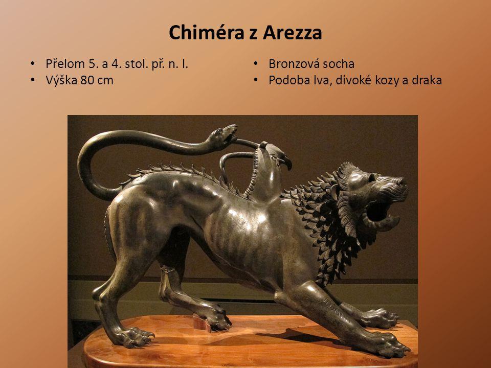 Chiméra z Arezza • Přelom 5. a 4. stol. př. n. l. • Výška 80 cm • Bronzová socha • Podoba lva, divoké kozy a draka