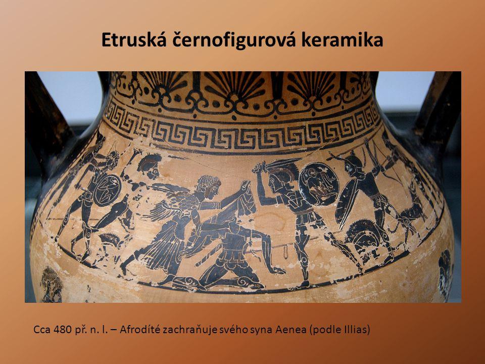 Etruská černofigurová keramika Cca 480 př. n. l. – Afrodíté zachraňuje svého syna Aenea (podle Illias)