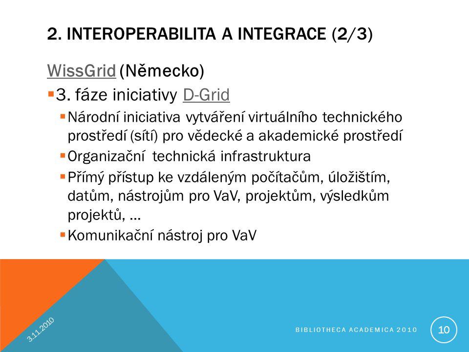 2. INTEROPERABILITA A INTEGRACE (2/3) WissGridWissGrid (Německo)  3. fáze iniciativy D-GridD-Grid  Národní iniciativa vytváření virtuálního technick