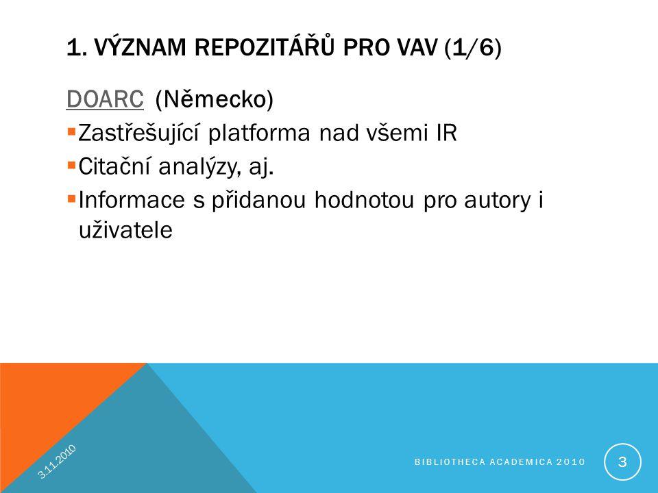 1. VÝZNAM REPOZITÁŘŮ PRO VAV (1/6) DOARCDOARC (Německo)  Zastřešující platforma nad všemi IR  Citační analýzy, aj.  Informace s přidanou hodnotou p
