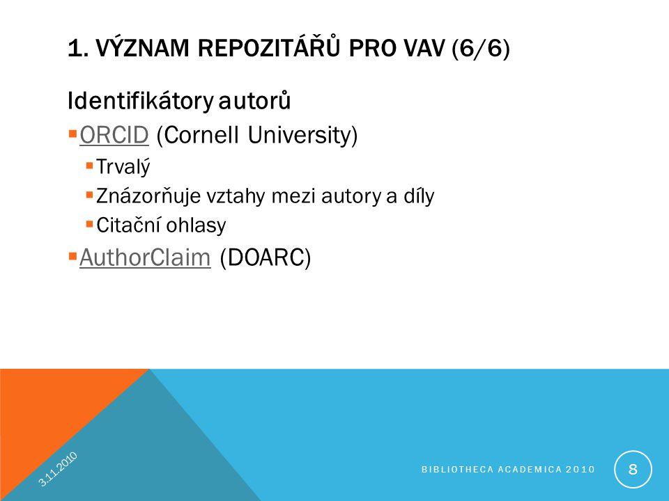 1. VÝZNAM REPOZITÁŘŮ PRO VAV (6/6) Identifikátory autorů  ORCID (Cornell University) ORCID  Trvalý  Znázorňuje vztahy mezi autory a díly  Citační