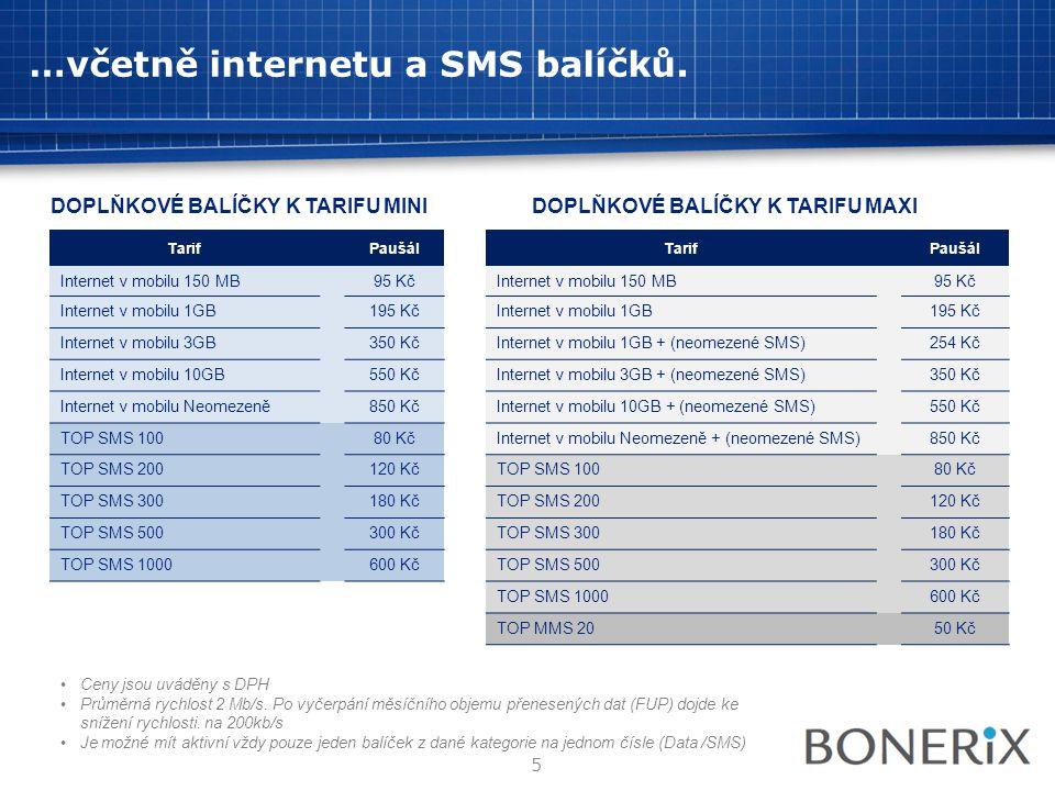 …včetně internetu a SMS balíčků. •Ceny jsou uváděny s DPH •Průměrná rychlost 2 Mb/s. Po vyčerpání měsíčního objemu přenesených dat (FUP) dojde ke sníž