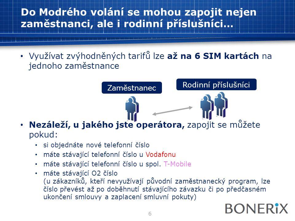 Do Modrého volání se mohou zapojit nejen zaměstnanci, ale i rodinní příslušníci… • Využívat zvýhodněných tarifů lze až na 6 SIM kartách na jednoho zam