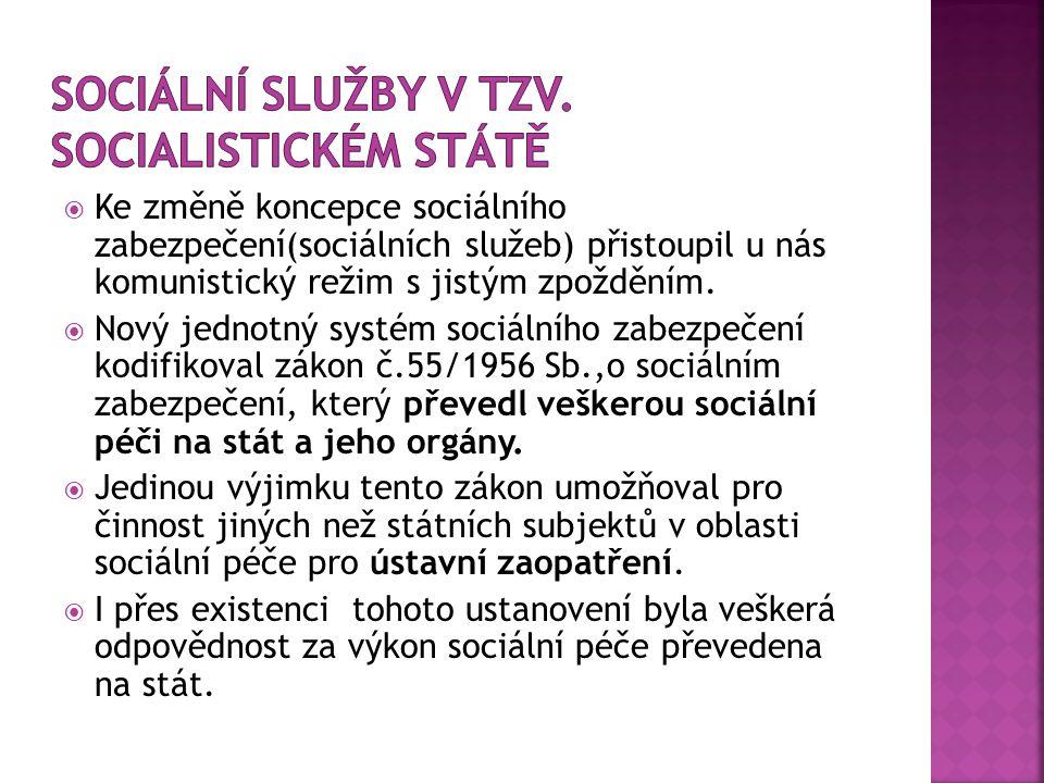  Ke změně koncepce sociálního zabezpečení(sociálních služeb) přistoupil u nás komunistický režim s jistým zpožděním.  Nový jednotný systém sociálníh