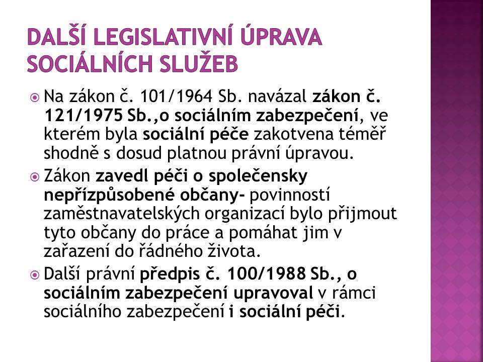  Na zákon č. 101/1964 Sb. navázal zákon č. 121/1975 Sb.,o sociálním zabezpečení, ve kterém byla sociální péče zakotvena téměř shodně s dosud platnou