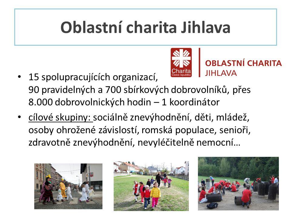 Oblastní charita Jihlava • 15 spolupracujících organizací, 90 pravidelných a 700 sbírkových dobrovolníků, přes 8.000 dobrovolnických hodin – 1 koordinátor • cílové skupiny: sociálně znevýhodnění, děti, mládež, osoby ohrožené závislostí, romská populace, senioři, zdravotně znevýhodnění, nevyléčitelně nemocní…