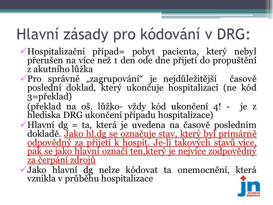 Hlavní zásady pro kódování v DRG:  Hospitalizační případ= pobyt pacienta, který nebyl přerušen na více než 1 den ode dne přijetí do propuštění z akut