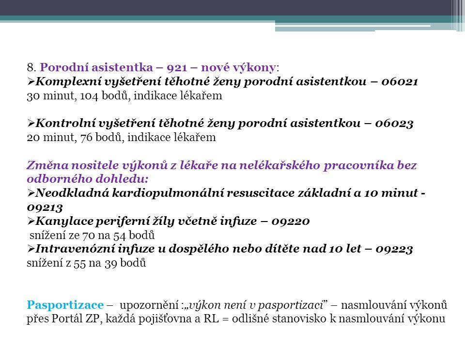 8. Porodní asistentka – 921 – nové výkony:  Komplexní vyšetření těhotné ženy porodní asistentkou – 06021 30 minut, 104 bodů, indikace lékařem  Kontr