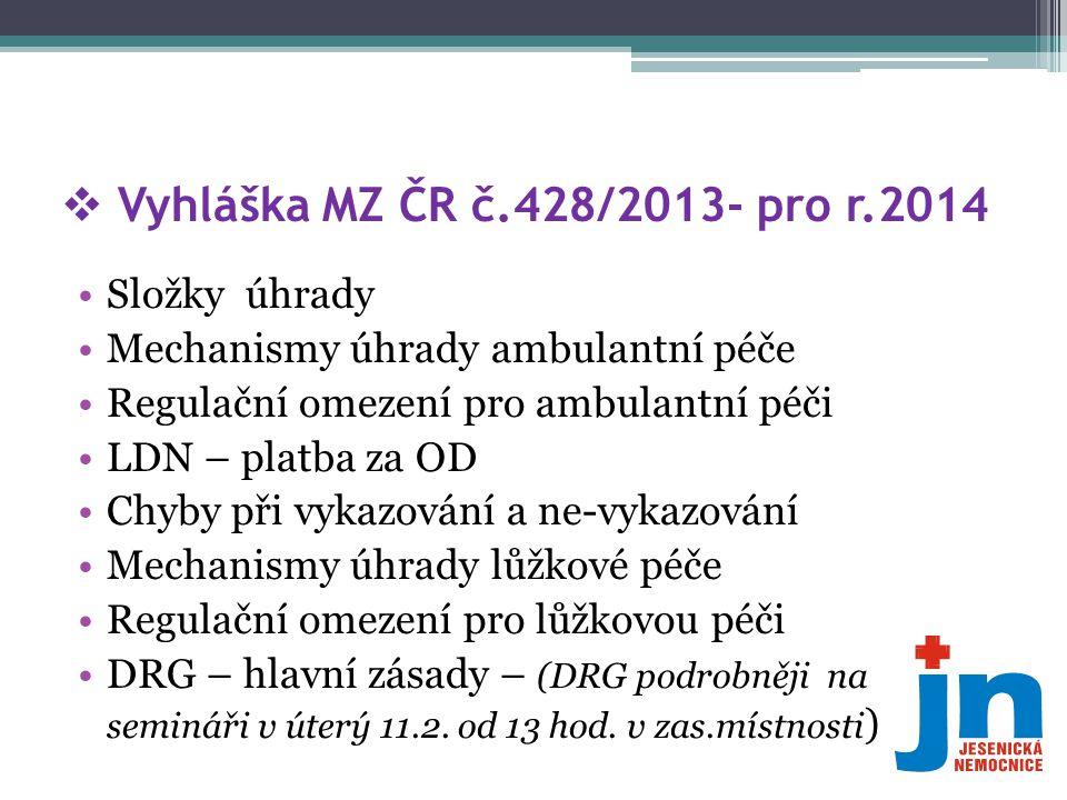  Vyhláška MZ ČR č.428/2013- pro r.2014 •Složky úhrady •Mechanismy úhrady ambulantní péče •Regulační omezení pro ambulantní péči •LDN – platba za OD •