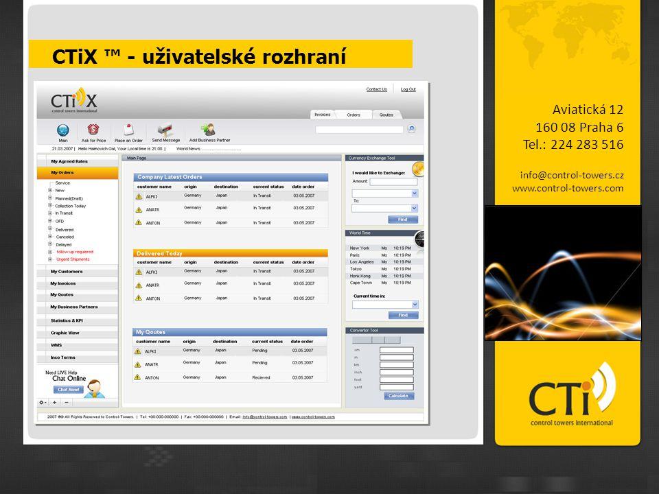 CTiX ™ - uživatelské rozhraní Aviatická 12 160 08 Praha 6 Tel.: 224 283 516 info@control-towers.cz www.control-towers.com