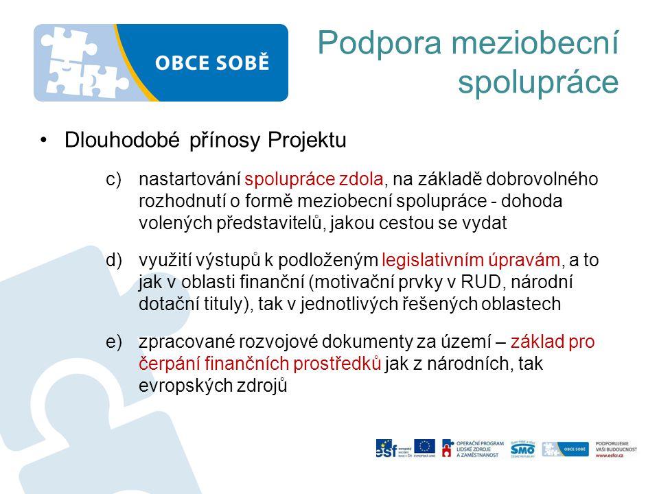 Podpora meziobecní spolupráce •Dlouhodobé přínosy Projektu c)nastartování spolupráce zdola, na základě dobrovolného rozhodnutí o formě meziobecní spol