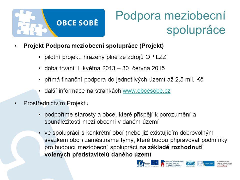 Podpora meziobecní spolupráce •Projekt Podpora meziobecní spolupráce (Projekt) •pilotní projekt, hrazený plně ze zdrojů OP LZZ •doba trvání 1. května