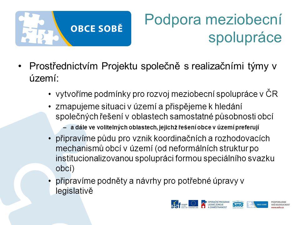 Podpora meziobecní spolupráce •Prostřednictvím Projektu společně s realizačními týmy v území: •vytvoříme podmínky pro rozvoj meziobecní spolupráce v Č