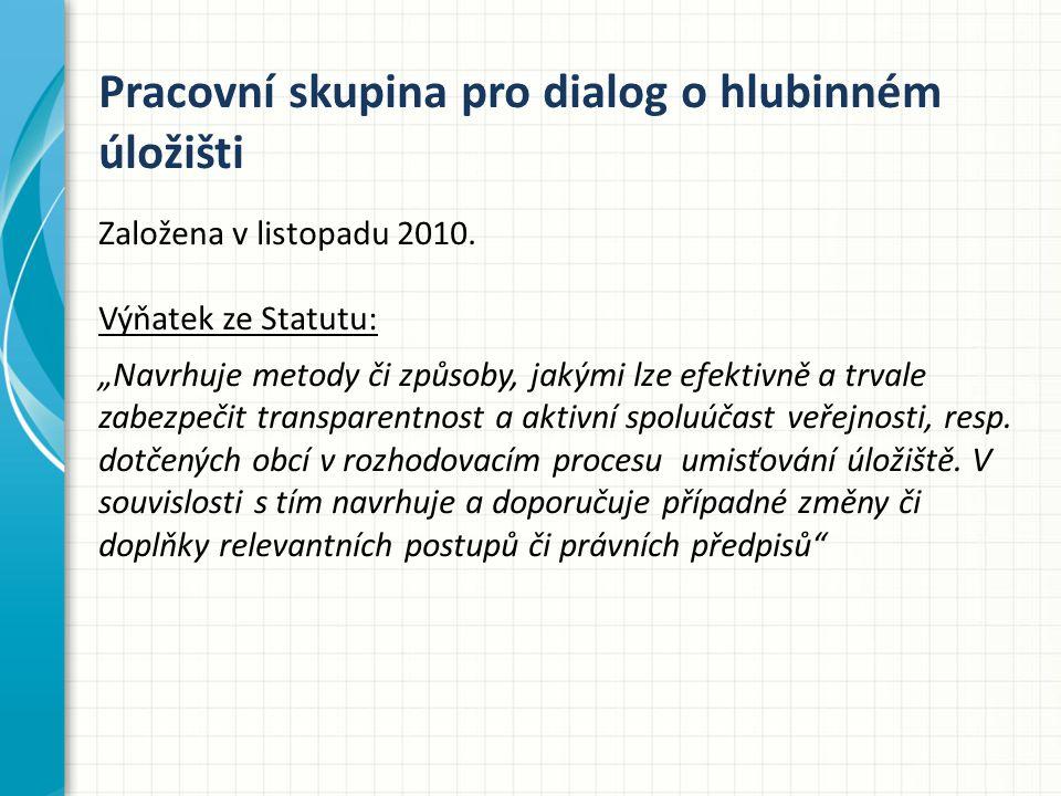 Pracovní skupina pro dialog o hlubinném úložišti Založena v listopadu 2010.