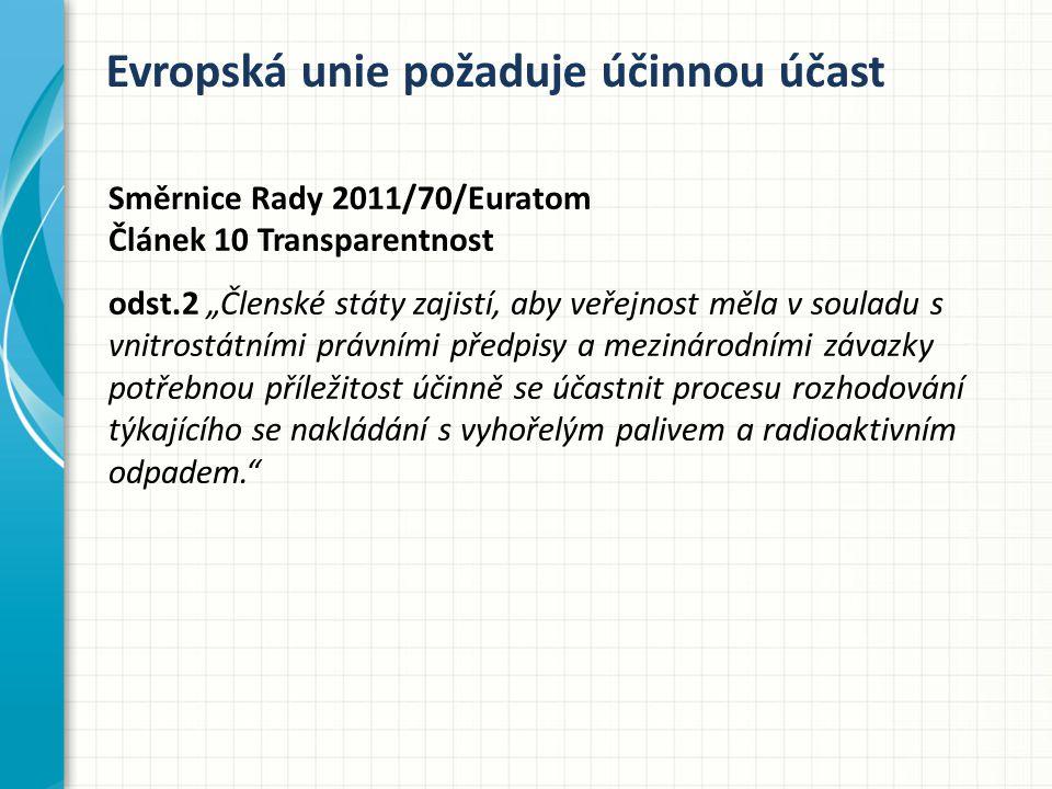 """Evropská unie požaduje účinnou účast Směrnice Rady 2011/70/Euratom Článek 10 Transparentnost odst.2 """"Členské státy zajistí, aby veřejnost měla v souladu s vnitrostátními právními předpisy a mezinárodními závazky potřebnou příležitost účinně se účastnit procesu rozhodování týkajícího se nakládání s vyhořelým palivem a radioaktivním odpadem."""