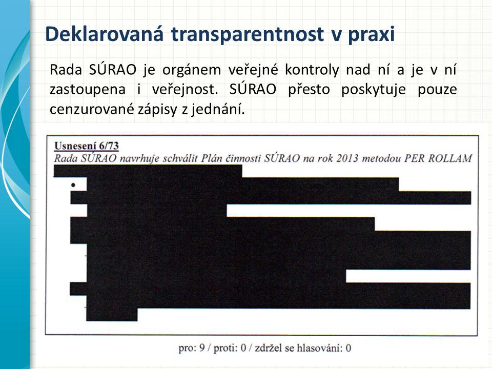 Deklarovaná transparentnost v praxi Rada SÚRAO je orgánem veřejné kontroly nad ní a je v ní zastoupena i veřejnost.