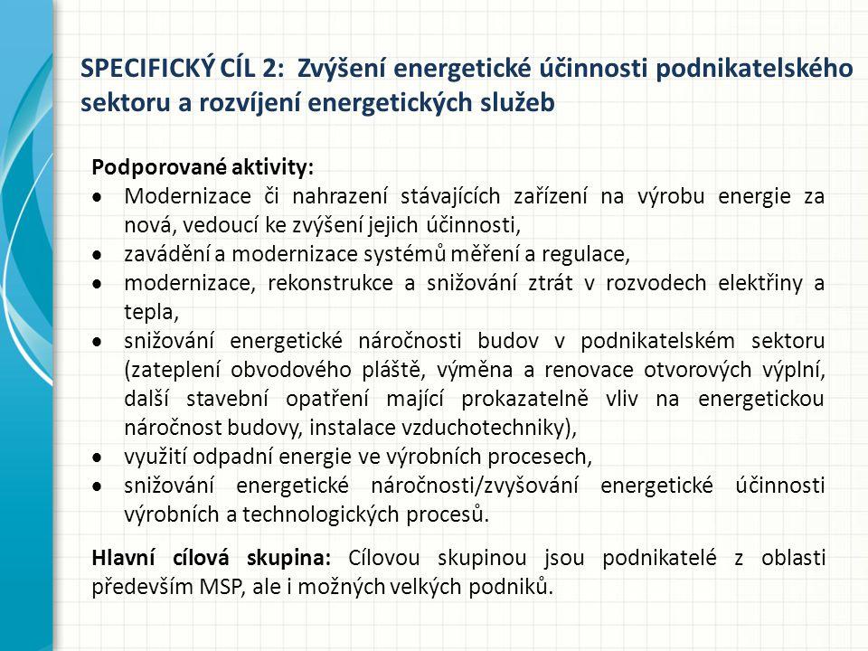 SPECIFICKÝ CÍL 2: Zvýšení energetické účinnosti podnikatelského sektoru a rozvíjení energetických služeb Podporované aktivity:  Modernizace či nahrazení stávajících zařízení na výrobu energie za nová, vedoucí ke zvýšení jejich účinnosti,  zavádění a modernizace systémů měření a regulace,  modernizace, rekonstrukce a snižování ztrát v rozvodech elektřiny a tepla,  snižování energetické náročnosti budov v podnikatelském sektoru (zateplení obvodového pláště, výměna a renovace otvorových výplní, další stavební opatření mající prokazatelně vliv na energetickou náročnost budovy, instalace vzduchotechniky),  využití odpadní energie ve výrobních procesech,  snižování energetické náročnosti/zvyšování energetické účinnosti výrobních a technologických procesů.