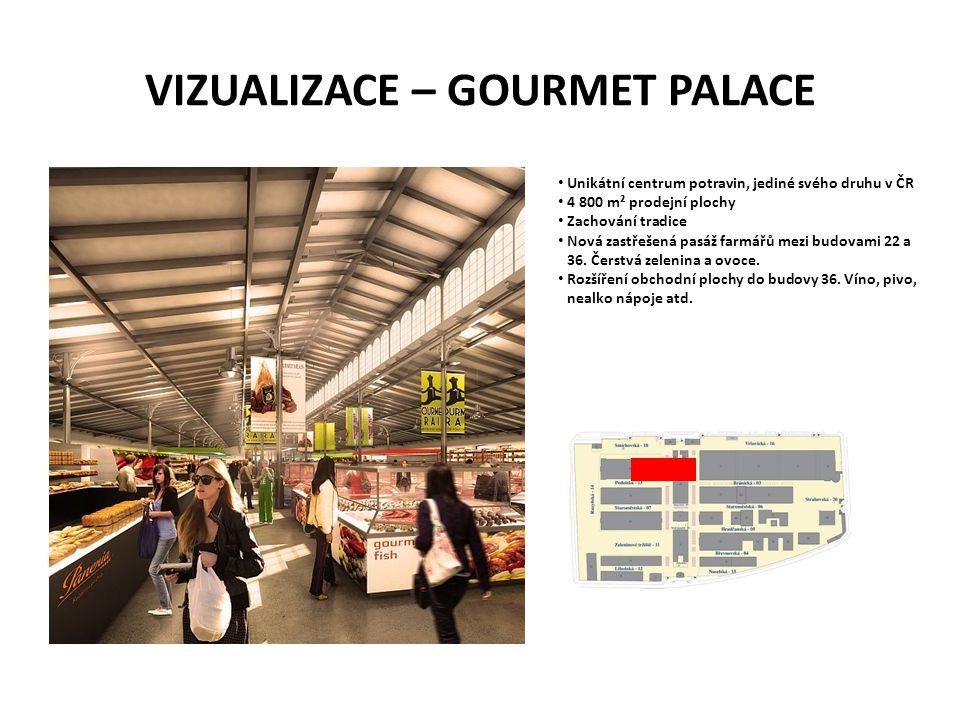 VIZUALIZACE – GOURMET PALACE • Unikátní centrum potravin, jediné svého druhu v ČR • 4 800 m² prodejní plochy • Zachování tradice • Nová zastřešená pas
