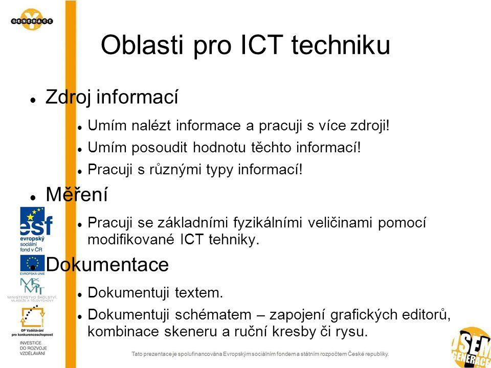 Oblasti pro ICT techniku  Zdroj informací  Umím nalézt informace a pracuji s více zdroji.