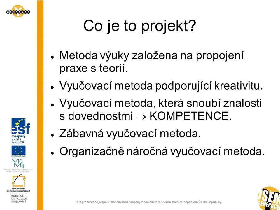 Co je to projekt.  Metoda výuky založena na propojení praxe s teorií.