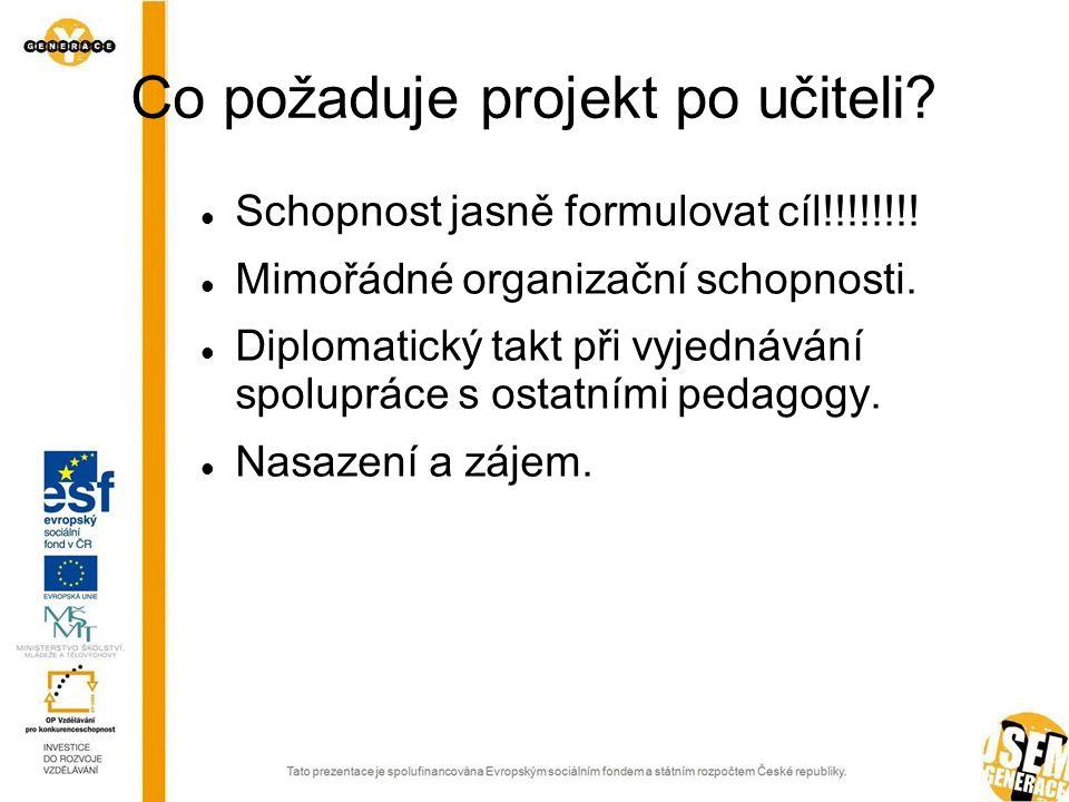 Co požaduje projekt po učiteli.  Schopnost jasně formulovat cíl!!!!!!!.