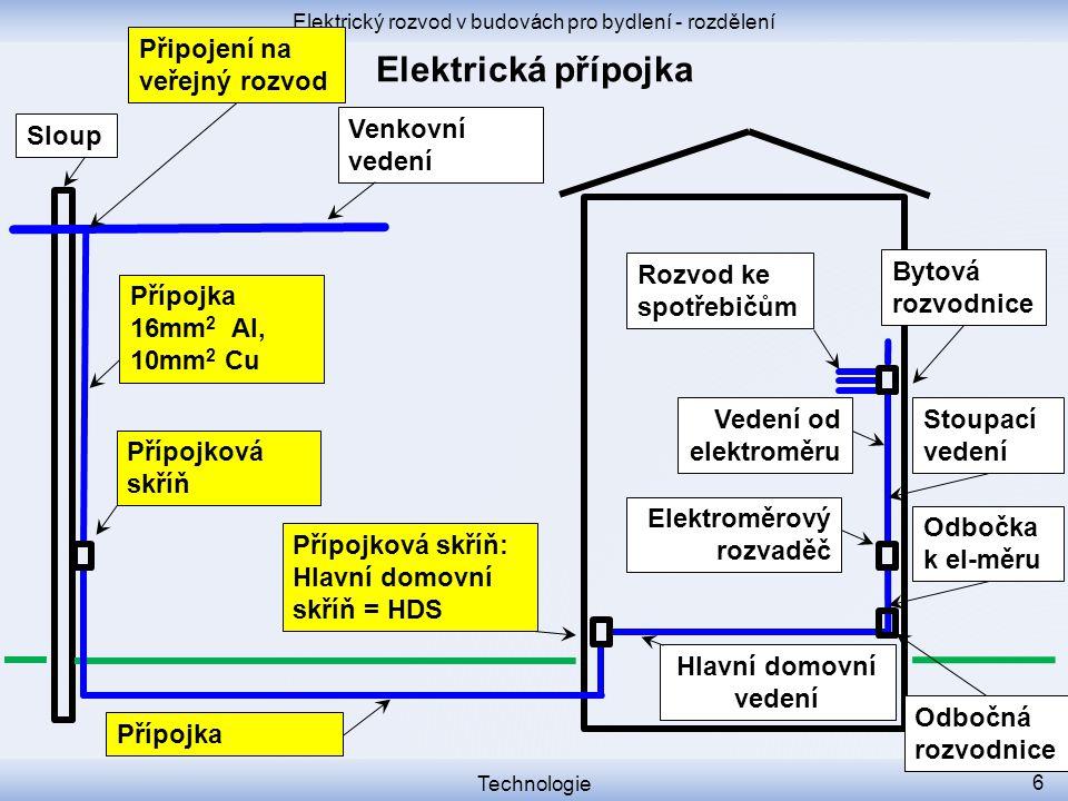 Elektrický rozvod v budovách pro bydlení - rozdělení Technologie 17 Přípojková skříň Přípojková skříň: Hlavní domovní skříň = HDS Venkovní vedení Sloup Elektroměrový rozvaděč Rozvod ke spotřebičům Hlavní domovní vedení = HDV Bytová rozvodnice Přípojka Přípojka 16mm 2 Al, 10mm 2 Cu Vedení od elektroměru Připojení na veřejný rozvod Stoupací vedení Odbočka k el-měru Odbočná rozvodnice