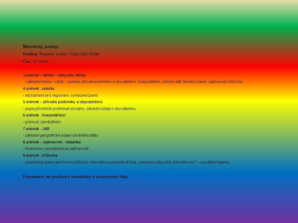 Metodický postup: Hodina: Regiony světa – Státy jižní Afriky Čas: 45 minut 3.snímek – Afrika – státy jižní Afriky - základní menu – výběr – poloha, přírodní podmínky a obyvatelstvo, hospodářství, vybraný stát daného území, zajímavost, křížovka 4.snímek - poloha - seznámení se s regionem, vymezení území 5.snímek – přírodní podmínky a obyvatelstvo - popis přírodních podmínek a krajiny, základní údaje o obyvatelstvu 6.snímek - hospodářství - průmysl, zemědělství 7.snímek - JAR - základní geografické údaje vybraného státu 8.snímek – zajímavost - hádanka - formou hry, seznámení se zajímavostí 9.snímek - křížovka - závěrečné opakování formou křížovky.