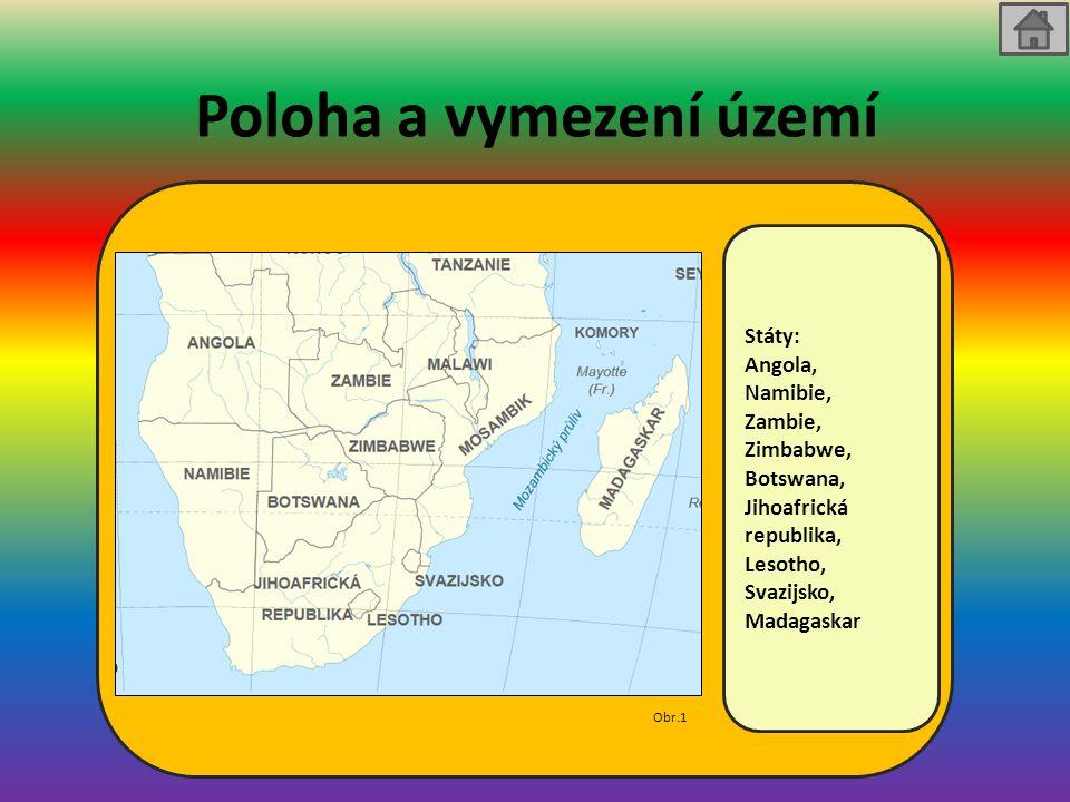 Přírodní podmínky a obyvatelstvo Přírodní podmínky: - směrem k rovníku tropické deštné lesy - nejjižnější oblasti jsou subtropické Krajina: - Příroda je rozmanitá a pestrá - povrch je velmi členitý - v západní části převažují pouště a polopouště - na východě a ve vnitrozemí jsou zastoupeny savany Obyvatelstvo: - nejhustěji obydlená oblast kontinentu - i tak nízká hustota zalidnění - obyvatelstvo se soustředí spíše na jihu oblasti, kde jsou příznivější podmínky pro život - v JAR potomci kolonistů Problémy : - chudoba, nemoci - rasismus
