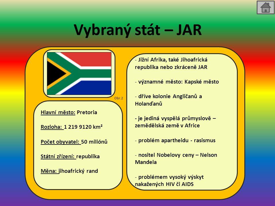 Vybraný stát – JAR Hlavní město: Pretoria Rozloha: 1 219 9120 km² Počet obyvatel: 50 miliónů Státní zřízení: republika Měna: jihoafrický rand - Jižní Afrika, také Jihoafrická republika nebo zkráceně JAR - významné město: Kapské město - dříve kolonie Angličanů a Holanďanů - je jediná vyspělá průmyslově – zemědělská země v Africe - problém apartheidu - rasismus - nositel Nobelovy ceny – Nelson Mandela - problémem vysoký výskyt nakažených HIV či AIDS Obr.2