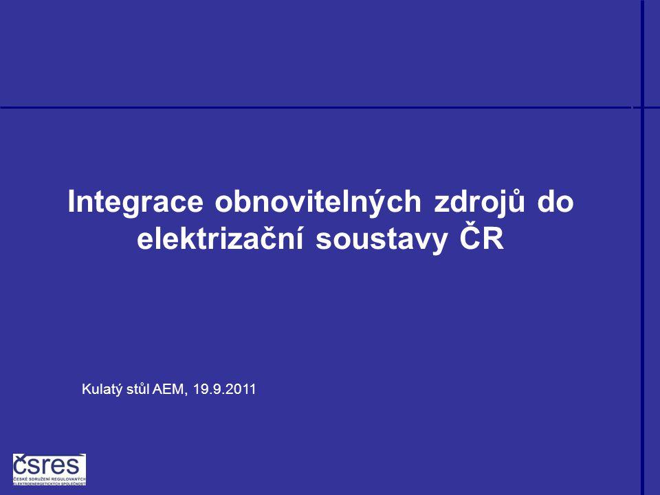 Integrace obnovitelných zdrojů do elektrizační soustavy ČR Kulatý stůl AEM, 19.9.2011